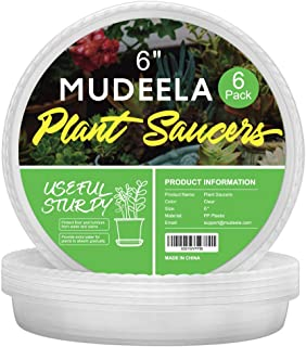 MUDEELA 6 Pack of 6 inch Plant Saucer, Durable Plastic Plant Trays for Indoors, Clear Plastic Flower Plant Pot Saucer, Made of Thicker, Stronger Plastic, with Taller Design
