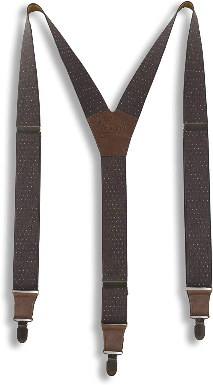 Suspenders The Barista Brown Elastic Wide 1.36 inch   Wiseguy Original