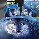 Unimall Parure de lit Loup Queen Size 100% Coton Ensemble 4 Pièces 2 Taies...