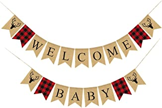 Lumberjack Welcome Baby Banner Timber Buffalo Check Plaid Baby Shower Party Decoration