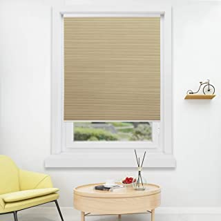 HOMEDEMO Cordless Blackout Cellular Shades Fabric Honeycomb Blinds for Windows, Doors and Bedroom, White Beige 27W x 64H