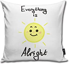 CAPSOCKS Decorative Throw Square Pillow Case Cover 18X18Inch,Cotton Cushion Covers Everything is Alright Both Sides Printing Invisible Zipper Home Decor Pillowcase