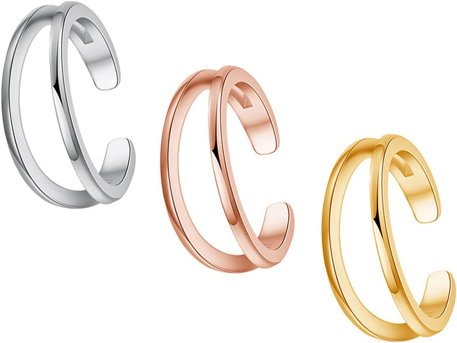 3PCS Copper Adjustable Toe Rings for Women Girls Summer Beach Hypoallergenic Flower Openknuckle rings Band Sandals Foot Jewelry