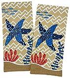Beach House Coastal Starfish Sea Life Kitchen Towels, Set of 2 Ocean Beach Kitchen Tea Towels for Cooking, Baking, Multipurpose Kitchen Towels, Kitchen Hand Towels, Beach House Decor, Beach Towels