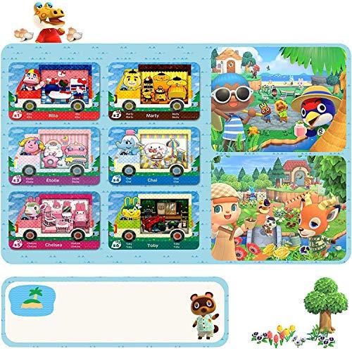 Cartes Amiibo pour Animal Crossing, Cartes de Jeu à Balises ACNH NFC pour Cartes de Véhicule Rondes New Horizons avec Étui (6 pièces Grandes Cartes de la série Sanrio)