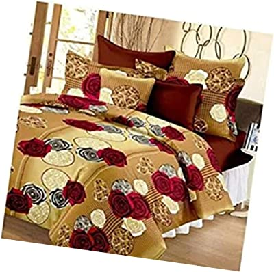 Brand Zone Hub Glace Cotton 3D Printed King Size 1 Double Bedsheet and 2 Pillow Covers (Multicolour)