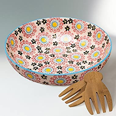 Large Salad Bowl Platter Set with 2 Serving Hands, 78 Ounce Stoneware, Embossed Floral Design, Multicolor