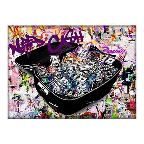 Mxibun Decoración De La Habitación Pintura De Pared Impresiones En Lienzo Maleta Dinero Imagen Carteles E Impresiones Decoración De Arte De Pared-60X80Cmx1 Sin Marco