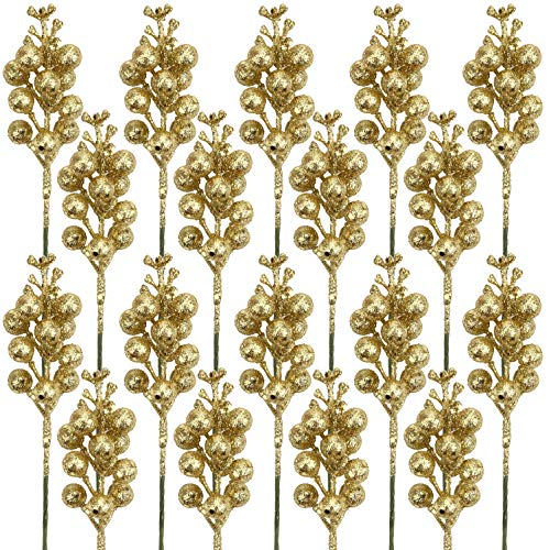 DIYASY Glitter Gold Berry Stems,20 Pcs 7.8 Inch Artificial Christmas Tree Picks Decoration and Christmas Tree Filler Ornaments,DIY Xmas Wreath, Holiday and Home Decor
