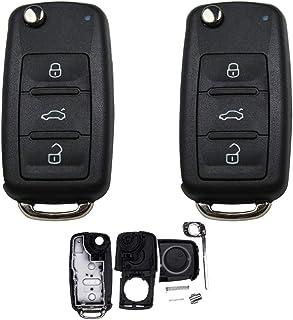 KONIKON 2X Autoschlüssel Gehäuse kompatibel für VW Caddy Golf Jetta Polo Scirocco Sharan Tiguan Touran Neu