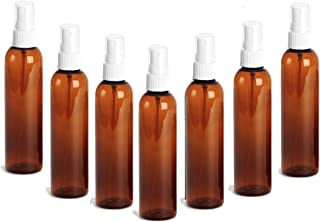 Grand Parfums 8oz Amber Plastic Refillable PET Cosmo Spray Bottles (BPA-Free) with White Fine Mist Atomizer Caps (3-Pack); Beauty Care, Travel Use, Home Cleaning, DIY, Aromatherapy