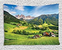 Bigleader自然のタペストリー、新鮮な草空雄大な山々の画像と春のアルプス創造的な家の装飾壁掛けタペストリー150x200cm