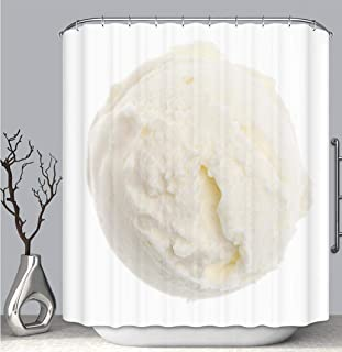 BEICICI Color Shower Curtain Liner Anti-Mildew Antibacterial, Single Real Lemon ice Cream Scoop from Above Isolated Multi-Color,Custom Shower Curtain Bathtub Bathroom Accessories.