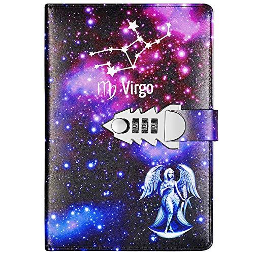 Yakri A5 tamaño doce constelaciones pasar cercanas libro diario de bloc de notas con contraseña TPN145 (Virgo)