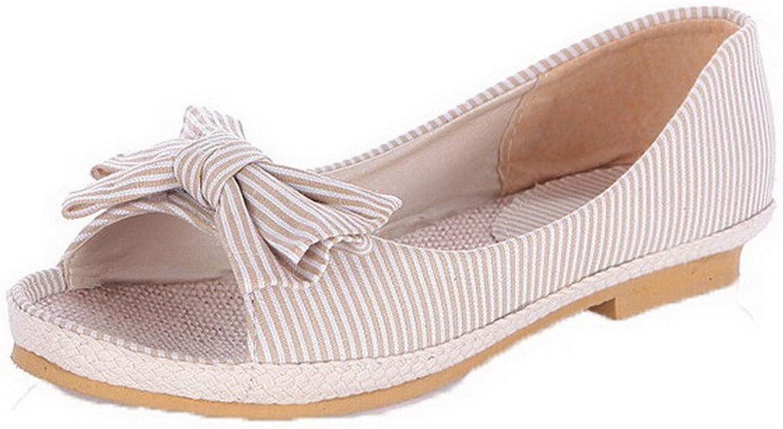 AmoonyFashion Women's Fabric Pull-on Open Toe Low-Heels Sandals, BUSLS004917