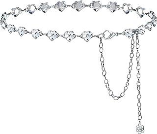أحزمة سلسلة أحجار الراين الرائعة للنساء والفتيات قلب كريستال حزام خصر للفساتين