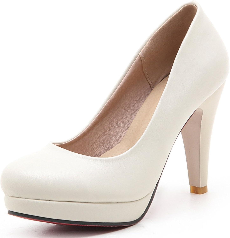 SaraIris Women's Chunky High Heel Platform Basic Office Casual Pumps