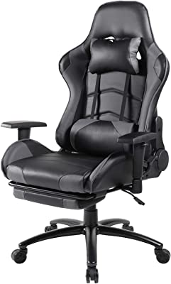 Office Chair, Ergonomic Gaming Chair Big Tall Computer Desk Chair Reclining Video Game Chair High Back PU Leather Executive Swivel Chair with Retractable Footrest and Lumbar Support