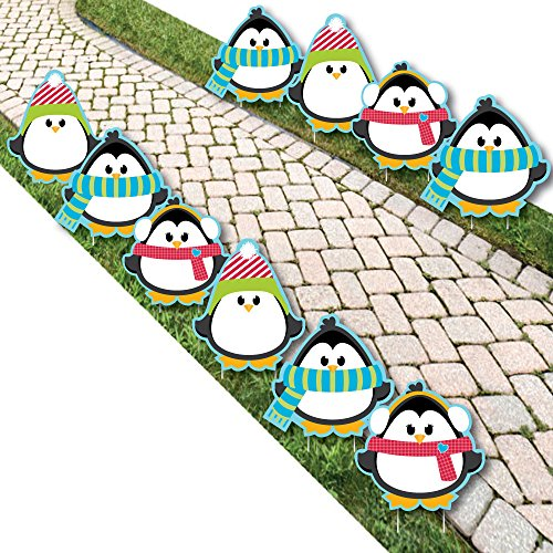 Big Dot of Happiness Holly Jolly Penguin - Penguin Lawn Decorations - Outdoor Holiday and Christmas Yard Decorations - 10 Piece