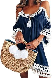 Jojckmen Women Girls Off Shoulder Dress Plus Size Short Sleeve Tassel Sundress