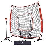 ZELUS 7x7ft Baseball Softball Practice Net | Portable Baseball Net with Tee, 2.8' 16oz...