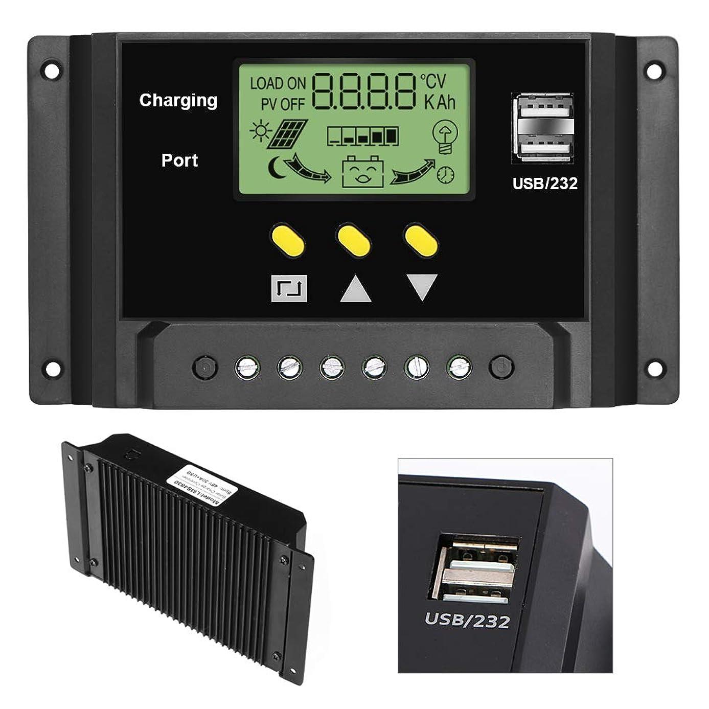 チームミニ目的ALLPOWERS 30A ソーラーチャージャーコントローラー 12V / 24V バッテリー ソーラー充電器コントローラ インテリジェントレギュレータ デュアルUSBポート LCDディスプレイ