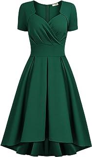 AISIZE Women 1950s Vintage Sweetheart Wrap Party Swing Dress