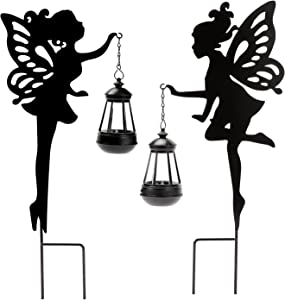 Solar Garden Stake Lights – YUNJACKEYDZ 2 Pack Metal Fairy Hanging Lantern Solar Outdoor Garden Decoration Silhouette Light Stake Garden Decorative Stake Ornaments for Lawn,Patio or Courtyard,Gifts