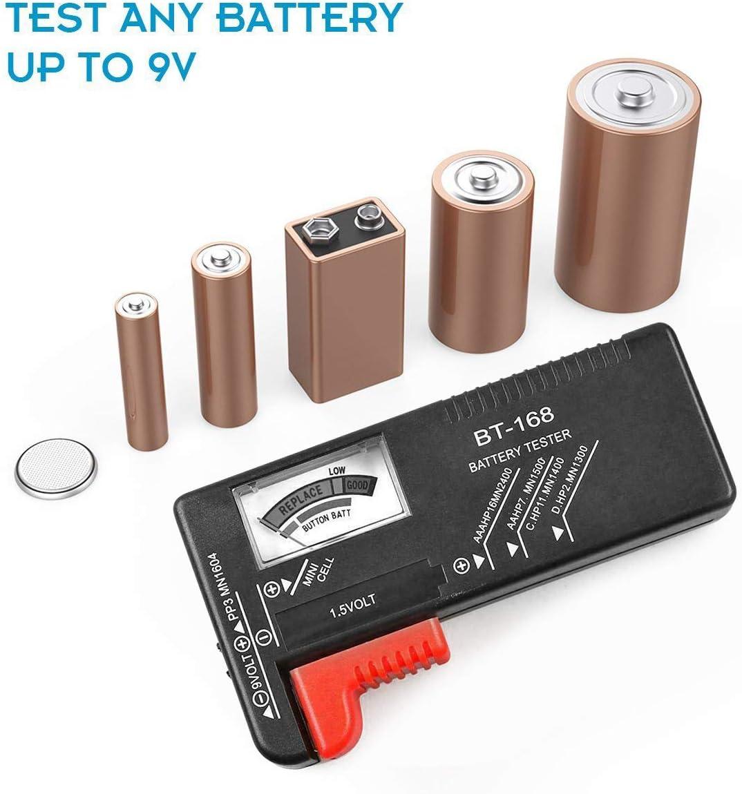 Organisateur de Stockage Capacit/é 110 Piles AA AAA C D 9V avec Testeur Batterie Amovible Noir, sans Piles Bo/îte de Rangement de Batterie