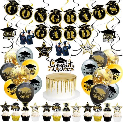 Kit de decoración para fiestas graduación 2021 Felicidades Grads Banner Garland bandera globos confeti decoraciones tartas remolinos colgantes accesorio cabina fotos purpurina negro dorado