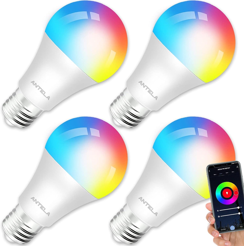 ANTELA Bombilla LED Inteligente WiFi E27 Sin Necesidad de Hub Compatible Alexa, Echo y Google Home, Bombilla LED 9W 806lm Equivalente 80 Watios, Bombilla RGB Blanco Cálido/ Frío, 4 Pack