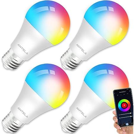 ANTELA Ampoule Connectée Wifi E27 9W LED Multicouleurs RGB + CCT 2700K-6500K, Compatible Avec Alexa/Google Home, Ampoule Intelligente Pas Besoin de Hub, 4 PCS