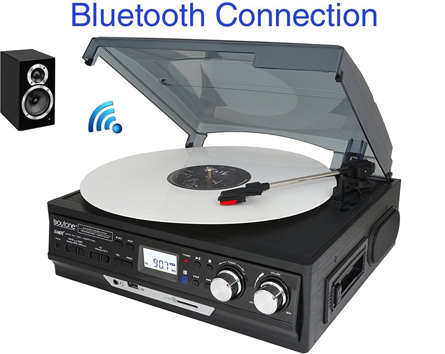 Boytone BT-37B-C Bluetooth 3-Speed Stereo Turntable, Wireless Connect to Devices Speaker(Bluetooth Out Transfer), 2 Built-in Speakers, LCD Display, AM/FM Radio, USB/SD/AUX+ Cassette Player/MP3