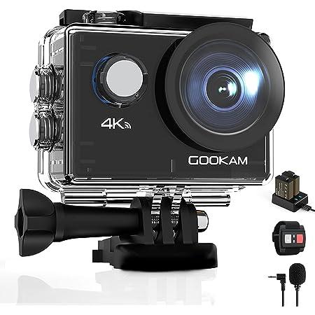 GOOKAM Caméra Sport 4K WiFi 20MP Ultra HD, Étanche 40M 170°Grand-Angle 2.0 '' LCD avec Microphone Externe 2.4G Télécommande, Caméra d'Action avec 2 Batteries Rechargeables et Kit d'Accessoires - GO 2