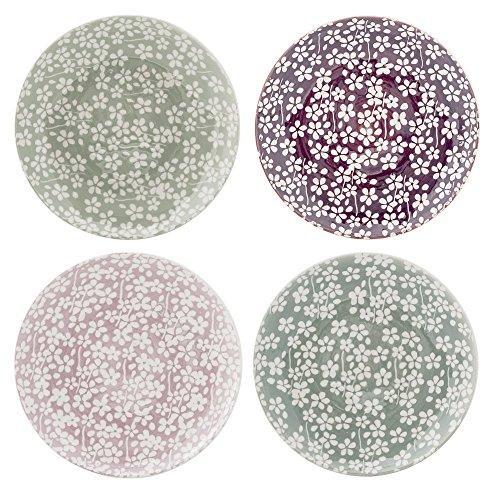 Assiettes Seeke, Bloomingville, Laurier/Succulent/Prune/Mauve, 4 pièces
