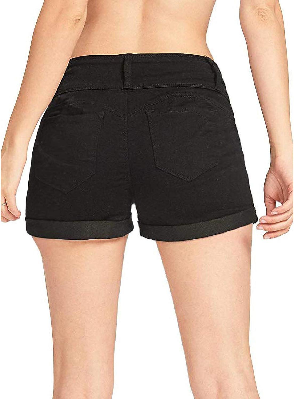 Women's Stretch Denim Shorts Fashion Low Waist Solid Color Trend Simple Butt