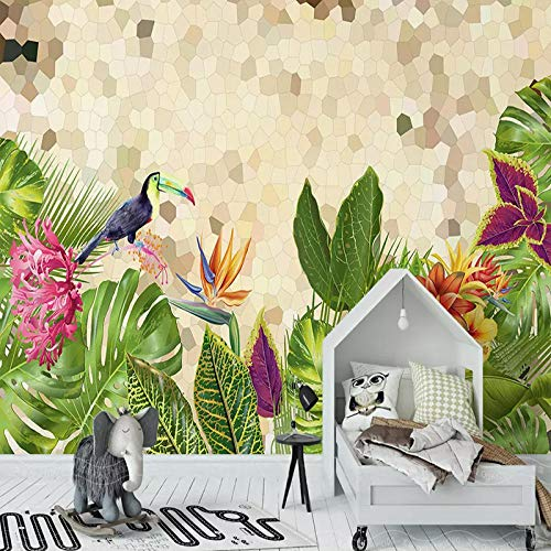 Awttmua Papel Tapiz Mural 3D Planta Tropical Simple Hoja Verde Mosaico Creativo Fresco Sala De Estar Dormitorio Decoración Del Hogar 250cmx175cm