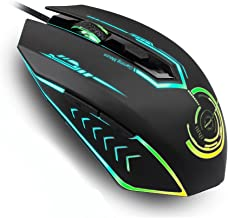 Uhuru Gaming Mouse Wired with 6 Programmable Button, 1200/1600/2400/3200 DPI Level, 7 Color Led Ergonomic MMO Computer Gaming Mouse for PC Laptop