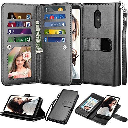 Njjex Compatible with LG Stylo 4 Case/LG Q Stylus/Stylus 4/Stylo 4 Plus/Stylo 4 Wallet Case, [9 Card Slots] PU Leather Flip Cover [Detachable][Kickstand] Magnetic Phone Case & Wrist Strap [Black]