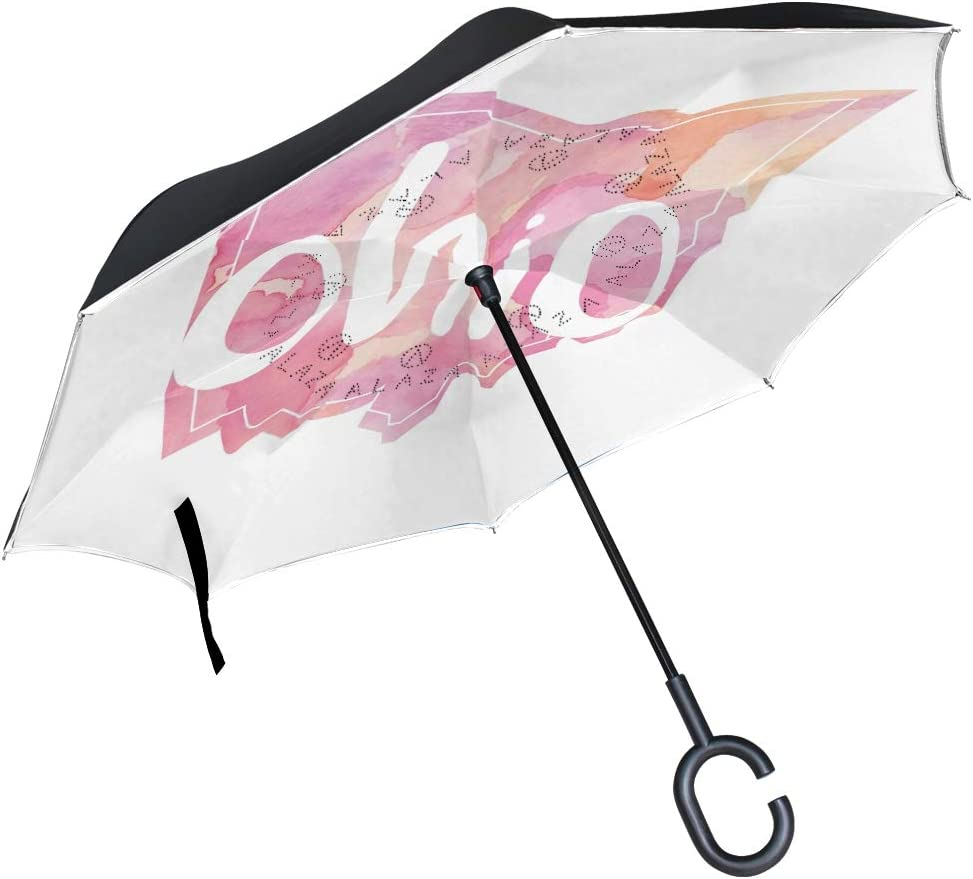 Inverted Travel Umbrella Watercolor Ohio Pr Reverse Windproof UV Clearance SALE Limited time New mail order