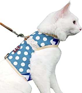 Escape Proof Cat Harness with Leash Large, Adjustable Cat Walking Jackets, Padded Cat Vest with Velcro Blue