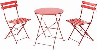 Grand patio Conjunto de Mesa y sillas Plegables para Exterior, Ideal para balcón o jardín, de Acero Inoxidable (1pc Mesa + 2pcs Sillas), Rojo