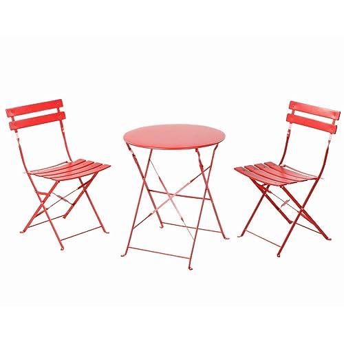 Grand Patio Set De Table Chaises Pliantes Exterieur Ideal Balcon Jardin En Acier Inoxydable
