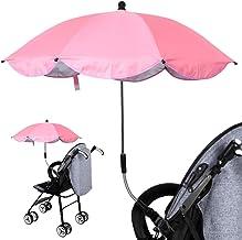 ANLEM Sombrillas para silla de paseo, paraguas desmontable con protección UV con abrazadera universal (rosa)
