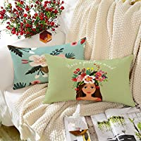BRICK HOME Highlighter Multicolor Printed Canvas Cotton Cushion Cover, 12X18 Inches, Set of 2
