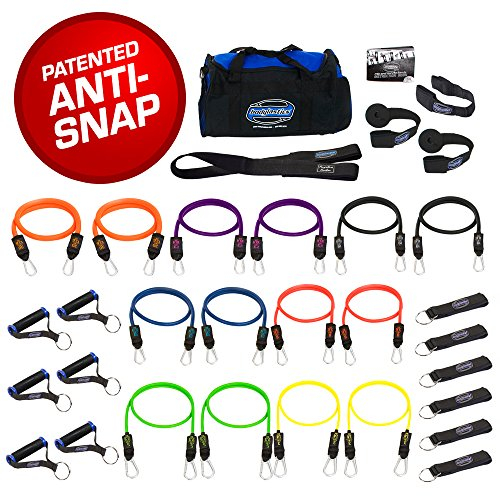 Bodylastics 31 Pcs Resistance Bands Set - MEGA Resistance. This Leading Exercise Band Kit Includes 14 of Our Anti-Snap Exercise Tubes, Heavy Duty Components, Gym Bag and 44 Online Workouts
