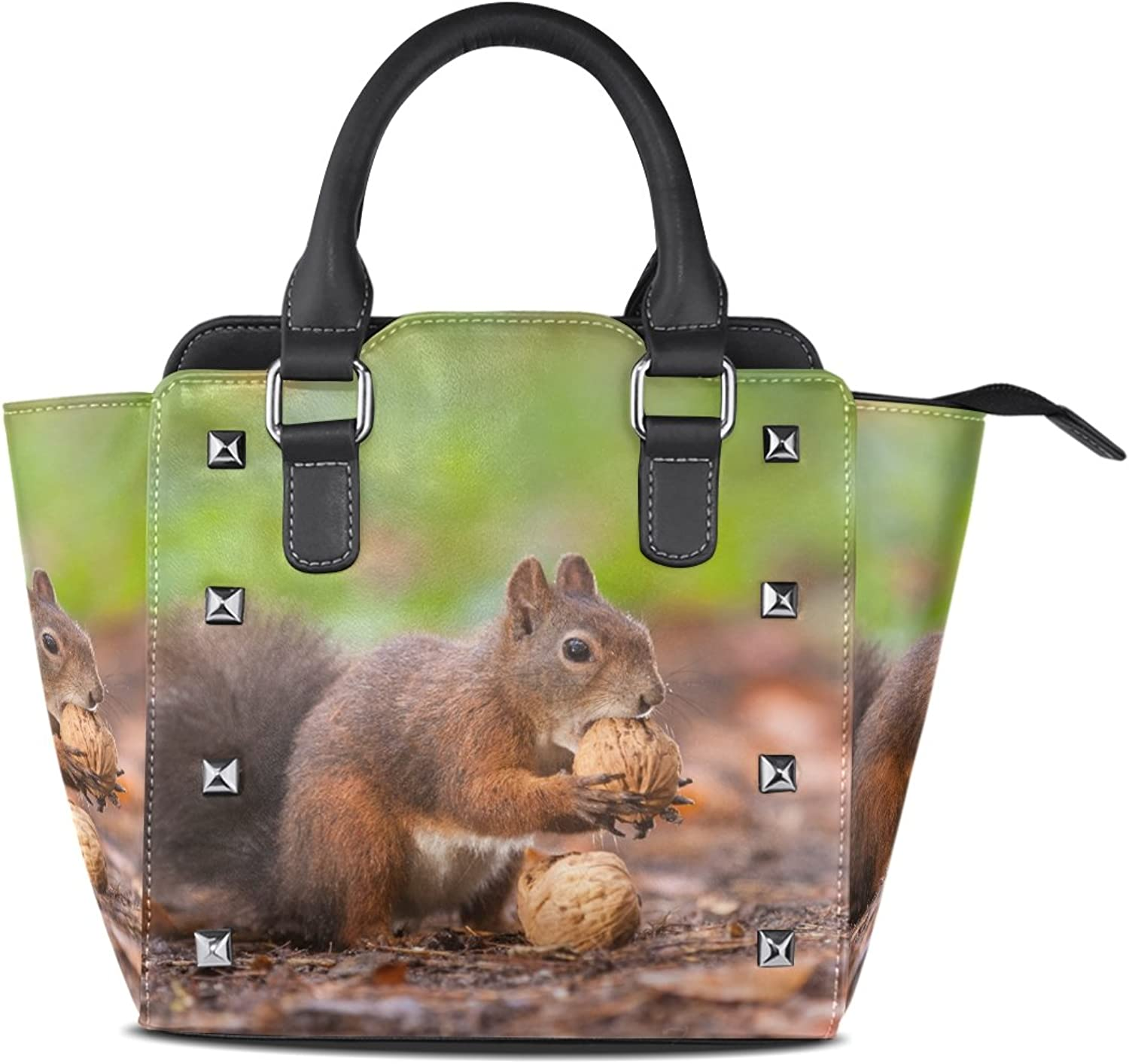 Sunlome Brown Squirrel with Nuts Print Handbags Women's PU Leather Top-Handle Shoulder Bags