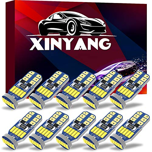 XINYANG 10Pcs 194 LED Car Bulbs, Canbus No Error T10 168 LED Light Bulbs, 15smd 4014 chipset 175 2825 Non-polarity LED Lights for Car Interior Dome Map Door Courtesy License Plate, 6000K White
