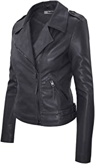 2LUV Women's Slim Tailoring Faux Leather Zipper Moto Biker PU Bomber Jacket