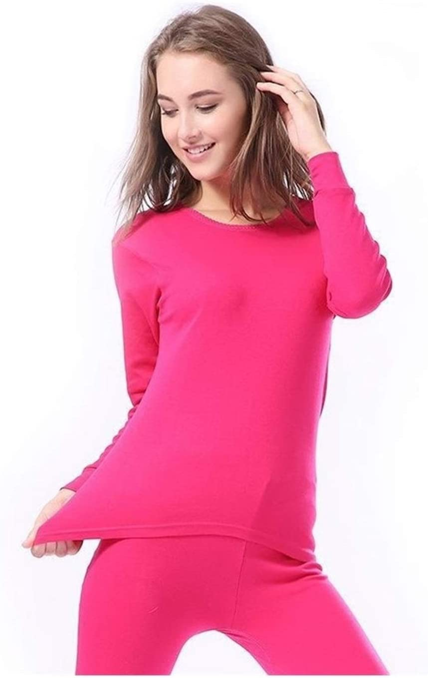 QWERBAM Winter Cotton Keep Warm Thermal Underwear Couple Breathable Tops Bottom Clothes Pajamas Suit Oversize 3XL (Color : Women Hot Pink, Size : L.)